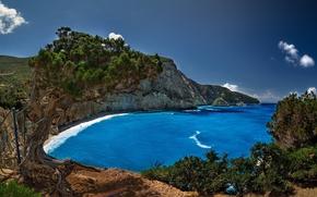 Grecia, costa, Rocce, Porto Katsiki, Lefkada, alberi, spiaggia, Mar Ionio