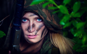 hood, suit, color, girl, military, weapon, silencer, scout, camouflage, battle, khaki, style, coloring, ambush.