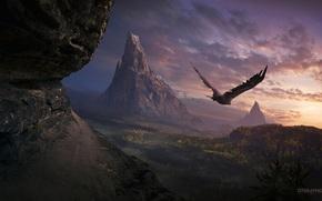aquila, tramonto, cielo, natura, il signore degli anelli, Montagne
