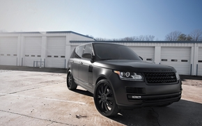 building, front view, White, matt black, Land Rover, Land Rover, Ranged rover, sky, trees