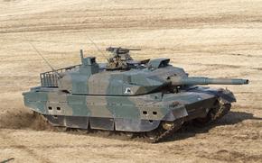 японский, основной, боевой, поле, танк