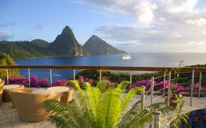 terraza, pez vela, silla., mar, Islas, océano, Montañas