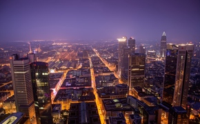evening, home, panorama, Frankfurt-am-Main, lights, building, Germany, view, High-rise buildings, city, night, Skyscrapers
