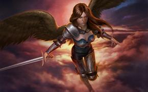flight, view, Art, weapon, wings, sword, armor, angel, fantasy