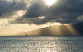 море, пейзаж, лодка