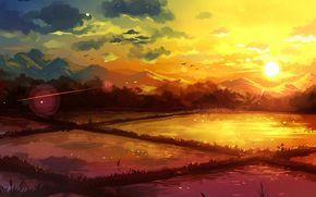 acqua, Art, Montagne, nuvole, natura, tramonto, cielo, uccelli, campo
