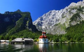 Monte Watzmann, Alpi bavaresi, chiesa, Lago Konigssee, Bayern, Germania