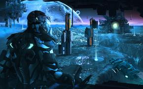 корабли, арт, планета, человек, космос, база, скафандр