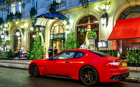 Maserati, night, red, building, people, Maserati