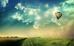 небо, шар, поле, солнце