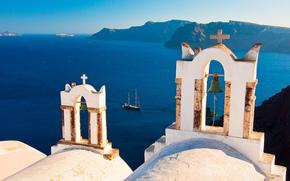 Isole, Grecia, Oia, Campana, yacht, Mar Egeo, Santorini