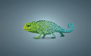 светлый фон, хамелеон, ящер, зеленый