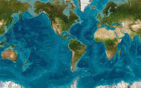 oceani, mondiale, mappa, continenti