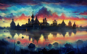птицы, закат, озеро, арт, нарисованный пейзаж, монастырь