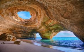 море, Алгарви, берег, камни, песок, скала, арка, Португалия