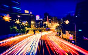 Madrid, España, ciudad, noche, carretera