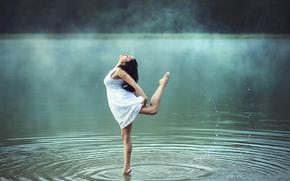girl, fog, dance, morning, water