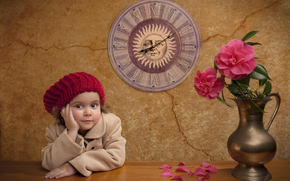 watch, Flowers, Peonies, table, wall, girl