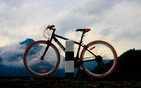 sky, post, SPOKES, frame, TRIP, forest, DISTANCE, Wheel, bike, hike, road, silhouette, clouds, nature, movement, journey, Mountains