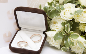 bouquet, Rose bianche, anelli di nozze, Fiori