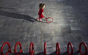 девочка, бег, круги