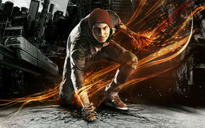 tattoo, gumshoes, InFamous: Second Son, Cap, city, guy, Dakin, asphalt, home, cracks, smoke, fire, chain, car, Delsin Rowe, smirk