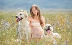 улыбка, цветы, шатенка, собаки, венок, девочка