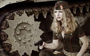 situazione, pistola, arma, ragazza