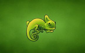 хамелеон, зеленый, ящер