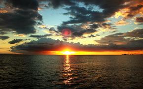sea, sunset, HORIZON, clouds, sky, sun, water, evening