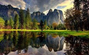 lago, reflexión, Montañas, EE.UU., agua, California, naturaleza, árboles, Yosemite