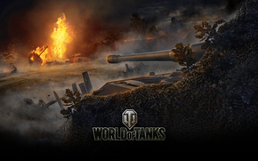 sky, Fri, flame, BARREL, Tank destroyer, disguise, home, German Tank, Germany, fence, smoke, dust, trees, clouds, iron, fog, German Fri Sau, Masking Network, fire, World of Tanks, bush