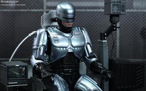 Held, Cyborg, Lade, Roboter, Polizei, sitzend, Rüstung, Eisen