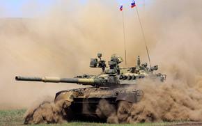 Russian, battle, tank, dust