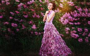 сирень, девушка, цветы, платье