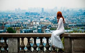 vestire, Parigi, visualizzare, ragazza dai capelli rossi