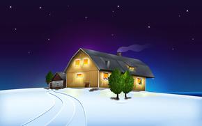 дом, рождество, пейзаж, звезды, ночь, снег, зима, небо