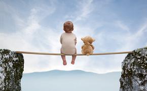 доска, медведь, ребёнок, настроение, игрушка