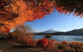 Mountains, lake, road, autumn, landscape