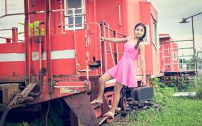 valigia, auto, ragazza, vestire, rosa