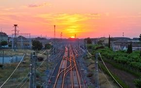 солнце, стрелки, горизонт, небо, станция, здания, железная дорога, пути, закат