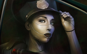 lips, cap, fantasy, face, girl, view, police, cyborg, Art, law, eyelashes