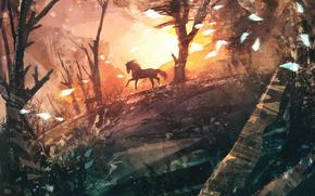 бег, ветер, нарисованный пейзаж, деревья, конь, арт