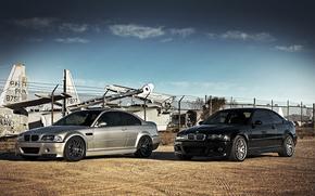 чёрный, серебристый, бмв, самолеты, BMW, небо, облака