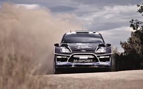 Front, Car, overcast, hood, ford, Sport, black, LIGHTS, championship, Race, machine, Skid