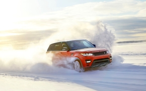 snow, red, speed, winter, in motion, Day, Land Rover, sun