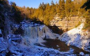 rivière, cascade, Rocks, arbres, paysage
