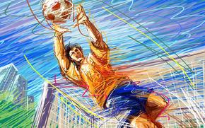 ball, gate, football, vector, goalie, touch, drawing