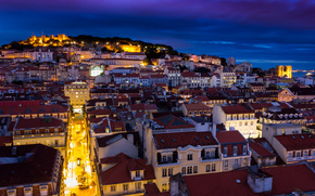 home, sky, capital, backlight, blue, lights, fortress, Portugal, architecture, Lisbon, building, night