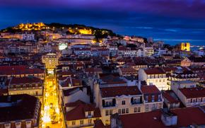 дома, небо, столица, подсветка, синее, огни, крепость, Португалия, архитектура, Лиссабон, здания, ночь